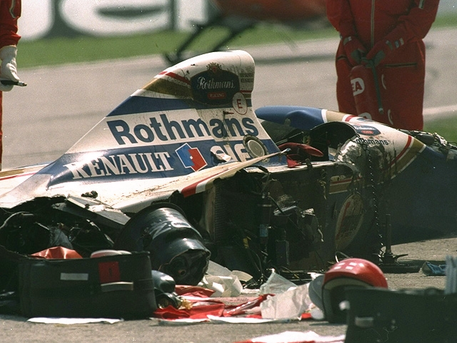 1 May 1994:  General view of Ayrton Senna's wrecked Williams Renault after he crashed during the San Marino Grand Prix at the Imola circuit in San Marino. Senna suffered a fatal accident when the steering column apparently sheared leaving the Brazilian helpless as his car speared into the concrete wall at the Tamburello corner. Senna was officially pronounced dead in a Bologna hospital later that afternoon. \ Mandatory Credit: Anton  Want/Allsport
