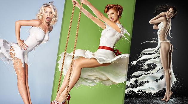 šaty z mlieka na krásnych ženách
