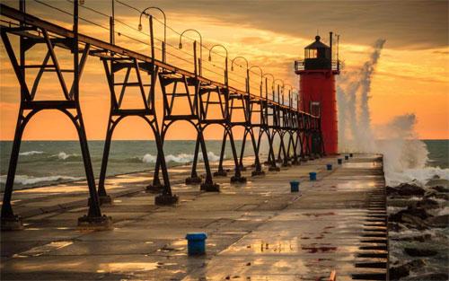 maják pozadie 05 - vlna a západ slnka